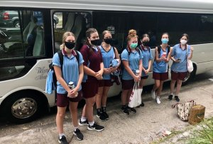 Chev's Junior A Basketballers who were playing at Narrabeen were taking no chances in the Greater Sydney hot zone!!